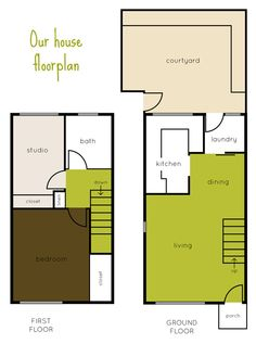 Our townhouse floorplan - http://www.atypicaltypea.com/2013/06/12/our-house-floorplan/