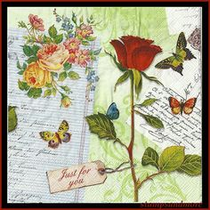 free images of vintage altered shabby chic paper  art | Shabby Chic Vintage Style Paper Napkins - Use For Decoupage, Mixed ...