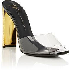Giuseppe Zanotti Women's Ada PVC & Patent Leather Mules ($650) ❤ liked on Polyvore featuring shoes, black high heel shoes, patent leather shoes, high heeled footwear, square toe shoes and clear shoes