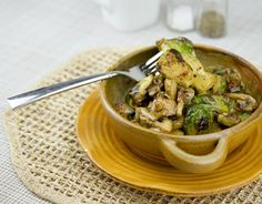 Creamed Brussel Sprouts with Mushrooms and Bacon / @DJ Foodie / DJFoodie.com