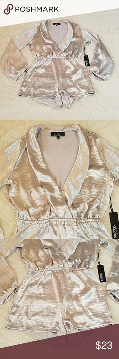 Lulu's silver romper A true silver color. Bell sleeves and wide collar. Very soft and comfortable. Ask me all questions and review photos carefully as I don't accept returns! Lulu's Other