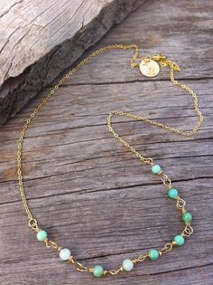 MInt green Chrysoprase gemstones wire wrapped in 14 karat Gold simple and sweet minimalist collection www.joellieboutique.etsy.com