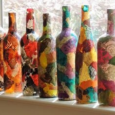 Lokta Papel Decoupage em Garrafa de Vinho em marrom e verde cores neutras, colagem em Garrafa de Vinho, colagem em vaso