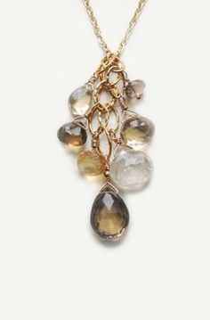 Lovely Clusters - Beautiful Shops: Fiesta Necklace with Smoky Topaz Rutilated Quartz Champagne