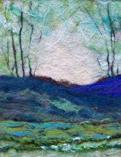 Blues Field Blues Field (needlefelted wool on felt with art yarn),… # 566 Blues Field Blues Field (genadelte Wolle auf Filz mit Kunstgarn), von Deebs – Washington, USA Felt Fabric, Fabric Art, Felt Pictures, Needle Felting Tutorials, Felt Embroidery, Wool Art, Landscape Quilts, Thread Painting, Nuno Felting