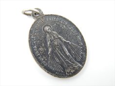 Antique immaculate Conception Catholic Medal - Religious Charm - Scapular Medallion - Catholic Jewelry Y26 by LuxMeaChristus on Etsy