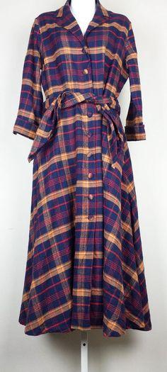 J. Peterman 1947 Dress Navy Blue Plaid Misses 14 #JPeterman #ShirtDress #Casual