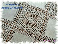 Crochet Doily Diagram, Filet Crochet Charts, Crochet Doily Patterns, Crochet Borders, Crochet Designs, Crochet Stitches, Crochet Bedspread, Crochet Curtains, Crochet Fabric