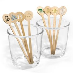 Personalized Circle Top Wood Stir Sticks