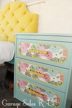 For updating the dresser in her room - paint white, then doll up the drawers.