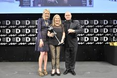 """Vicki receiving YARD's Drapers Record """"Best New Business Award"""" from Lauren Laverne and Ross Kemp"""