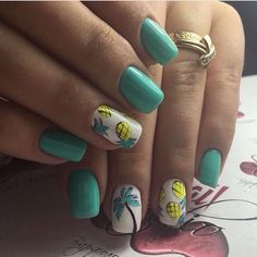 Bright summer nails, Drawings on nails, Easy nails for girls, Fruit nails, Nails with stickers, Palm tree nail art, Short nails for kids, Simple nail art