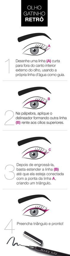 10 imagens que vão te ajudar a virar expert em delineador The retro kitten eye is a classic make and that values ​​the look. Make Up Dupe, Make Up Primer, Eye Make Up, Beauty Make Up, Beauty Care, Beauty Hacks, Makeup Goals, Makeup Tips, Winged Eyeliner