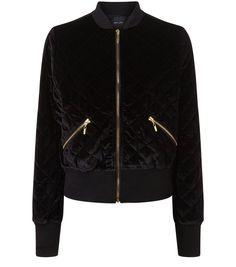 Black Velvet Quilted Bomber Jacket | New Look