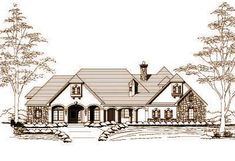 Style House Plans - 4241 Square Foot Home , 1 Story, 4 Bedroom and 3 Bath, 3 Garage Stalls by Monster House Plans - Plan 19-406
