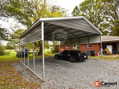 24'-wide Metal Carport - Perfect for covering two vehicles, and versatile enough to use for other applications, too. Total price starts at $3756 (plus tax). We offer the best array of Financing, Rent-To-Own, and Layaway options, too! Call 866-311-0822 & mention item: VRMC242610 to get your own personalized quote today! #Carport #VerticalRoof #MetalBuilding Steel Carports, Property Values, Metal Buildings, Metal Roof, Quote, Vehicles, Places, Outdoor Decor, Quotation