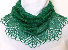 Beautiful Jade Green Lace-knit Cowl in Merino and by NeedlesnPurls