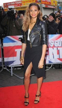 Alesha Dixon attends Britain Got Talent Auditions Black Leather Biker Jacket, Leather Skirt, Strictly Come Dancing Winners, Alesha Dixon, Denim Fashion, Womens Fashion, Britain Got Talent, Celebrity Faces, Tv Presenters