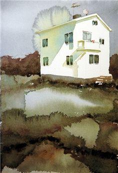 Björn Bernström Watercolor Architecture, Watercolor Landscape, Abstract Watercolor, Watercolor And Ink, Watercolor Paintings, Watercolours, Urban Landscape, Landscape Art, Watercolor Journal