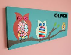 Owl painting nursery picture. Owls in tree on canvas in turquoise (not a print) for kids room and playroom. Personalized and Customized