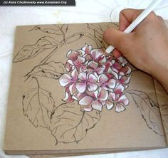 Everyone is unique, and it's worth to show it - How to draw hydrangea flowers, part I .....Drawing with colored pencils on cardboard colored paper! Makes it pop!: