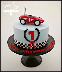 Vintage Racecar First Birthday Cake in blue and red