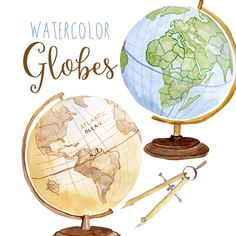 Aquarell Globen Globus ClipArt Planet von DigitalPressCreation