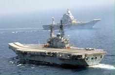 India's 2 aircraft carriers INS Vikramaditya & Viraat (foreground) .