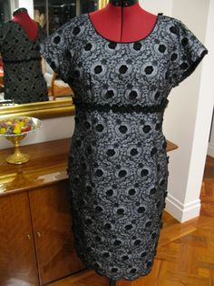 Black/charcoal broderie anglais dress - Burda pattern