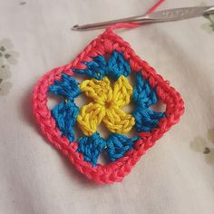 """Was inspired by @rkc.handmade to try my hand at doing a mini crochet square using embroidery thread. I'm loving how it turned out. This square is about 1.25""""  1.25"""" in size. #loretovcrafts #loretovdesign #crochet #crochetaddict #crochetlove #embroiderythread #grannysquare #vscocam #crochetersofinstagram by loretovdesign"""