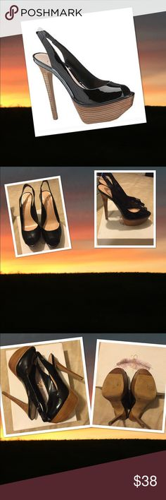"""Price ⬇️ Jessica Simpson Patent Leather Peep Toe Curvy lines shape a chic black patent leather peep-toe pump styled with a flirty slingback strap and lifted by a chunky wood like platform and a sky-high heel. EUC; only worn twice; No scuffs or scratches; kept in original box  ▪️5"""" heel ▪️1 1/4"""" platform Jessica Simpson Shoes Platforms"""