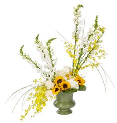 Sunflowers designed with white and yellow flowers accented in moss green urn container. Natural Mature, Sunflower Design, Yellow Flowers, Oasis, Craft Supplies, Stuff To Do, Glass Vase, Urban Gardening, Urn