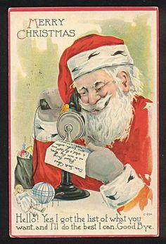 Santa Claus Telephone C234 Toys Postcard 1924 | eBay