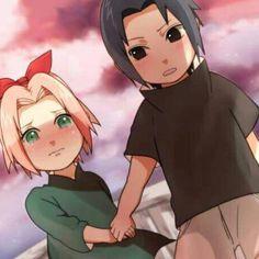 Awwwwwwww there so cute when there little, SASUKE and Sakura