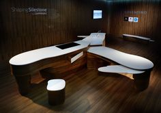 Unveiled yesterday at Superstudiopiù in via Tortona 13, Milan, Shaping Silestone, a versatile kitchen living space designed by Sao Paulo artists and designers Humberto & Fernando Campana. Within a wooden curved body Silestone drawings, tables and accessories opens like a Swiss Army knife. Tops in Silestone material.