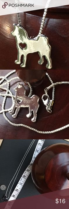 Husky, Malamute, Akita, Dog Lover❤️️ Adorable doggie necklace. Perfect gift for any dog lover. Puppy 🐶 dog love ❤️ necklace. This silhouette can represent many breeds including welch husky, malamute, Pomeranian, keeshound, Akita, Spitz, or your favorite mutt. Boutique items - prices are firm unless bundled. Jewelry Necklaces
