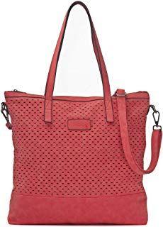 718476b60698b1 Damen Handtasche Rot (Koralle) - XXL Shopper mit abnehmbarem Schultergurt -  DIN A4 fähiges