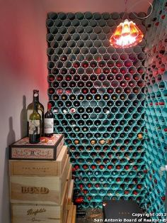 wine rack out of painted pvc pipe = genius.