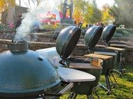 Why use just one Big Green Egg when you can use four?....So true! I want another one!