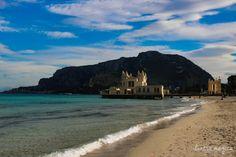Gorgeous beach of Mondello, close to Palermo, Sicily, Italy. Perfect winter sun bliss...