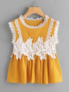 SheIn offers Contrast Crochet Appliques Trim Smock Blouse & more to fit your fashionable needs. Baby Frocks Style, Baby Girl Frocks, Baby Frocks Designs, Kids Frocks Design, Frocks For Girls, Girls Dresses Sewing, Stylish Dresses For Girls, Dresses Kids Girl, Baby Dresses