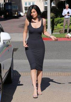 Kylie Jenner Form-Fitting Dress - Kylie Jenner was curvi-licious in a skintight charcoal tank dress by Enza Costa while shopping at Barneys New York.