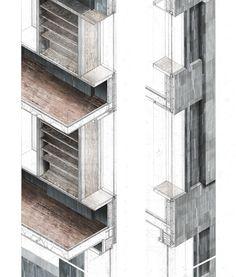 façade detail | design proposal for the Glasgow Literary Institute by architecture student David Fleck | Glasgow, Scotland | June 2013 | via Behance