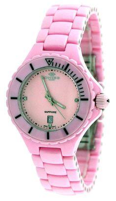 oniss on8011lpk womenu0027s watch pink ceramic genuine diamonds pink mop dial