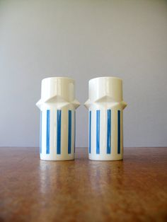Two Mid Century Tackett for Schmid Tumblers / Cups Blue by luola