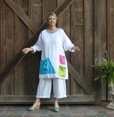 linen dress tunic in white with multi color by linenclothing, $135.00