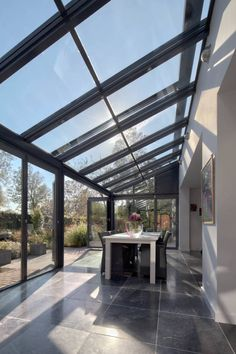 slanted transparent/opaque roof and wall