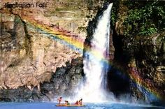 The falls are one of the major tourist attractions in Laguna. The falls are reached by a river trip on dugout canoe known locally as shooting the rapids, originating from the municipality of Pagsanjan. Dugout Canoe, Tourist Spots, More Fun, Philippines, Life Is Good, Canoeing, Waterfalls, Rainbows, Bucket