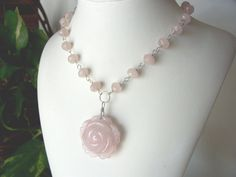 pink necklace rose quartz necklace necklace gemstone by sydemcgus, $18.00