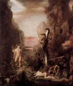 Gustave Moreau.  Herkules und die Lenäische Hydra.1876, Öl auf Leinwand, 175,3 × 154cm.Chicago, Art Institute.Frankreich.Symbolismus.  KO 00633
